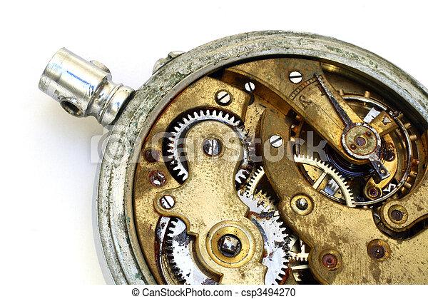 old pocket watch rusty gear - csp3494270