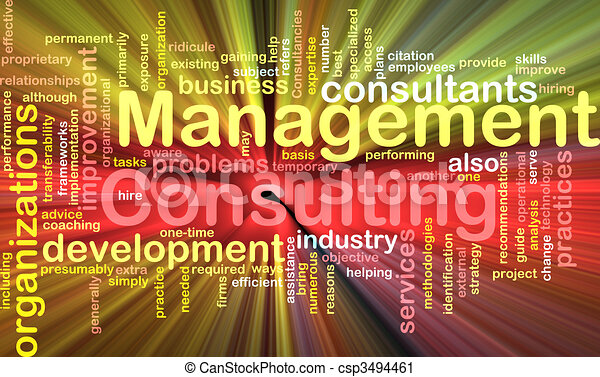 Management consulting word cloud glowing - csp3494461