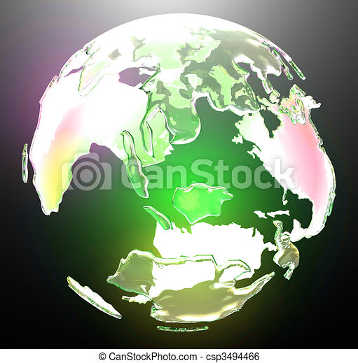 Translucent glowing world globe - csp3494466