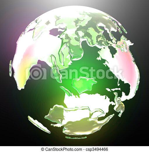Translucent glowing world globe - csp3494466