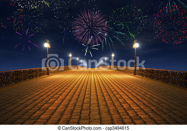 Night fireworks on the empty bridge - csp3494615