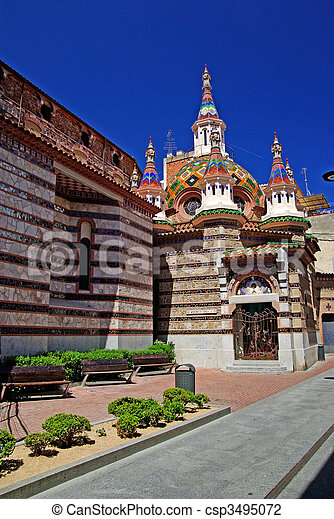 Parish Church of Sant Roma with beautiful architecture and ornament. Lloret de Mar, Costa Brava, Spain. - csp3495072