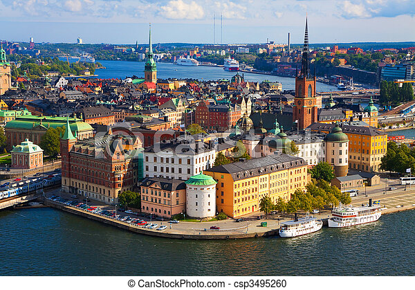 panorama,  Stockholm, sverige - csp3495260