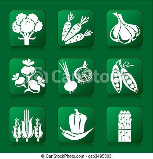 vegetables icons - csp3495303