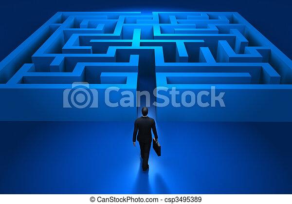 Businessman entering the labyrinth - csp3495389