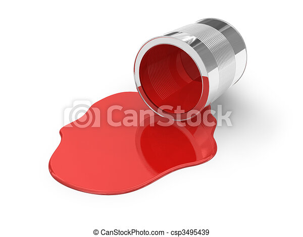 Red spilled paint - csp3495439