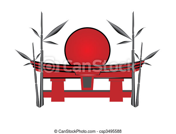 Japanese gate the sun and a bamboo - csp3495588