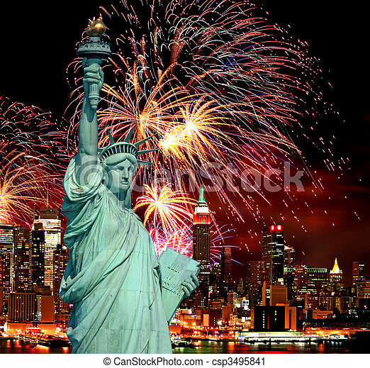 The Statue of Liberty and holiday fireworks - csp3495841