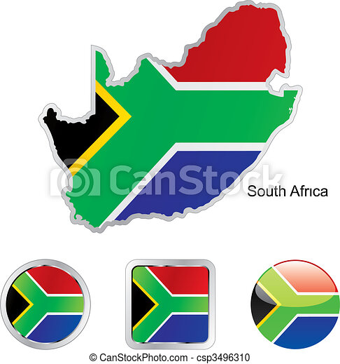flag of south africa in map and web buttons shapes  - csp3496310