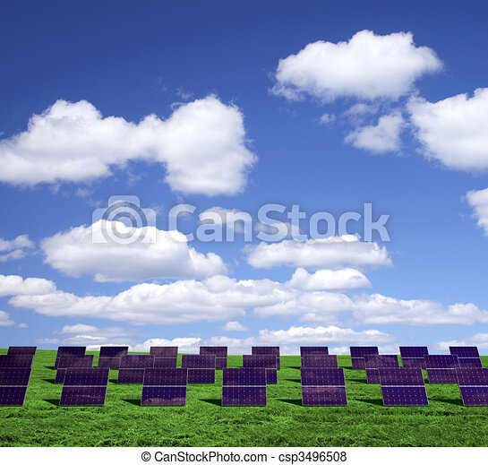 Solar energy panels on a green field - csp3496508