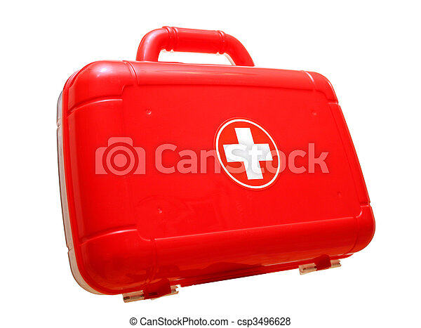 Red first aid kit bag - csp3496628