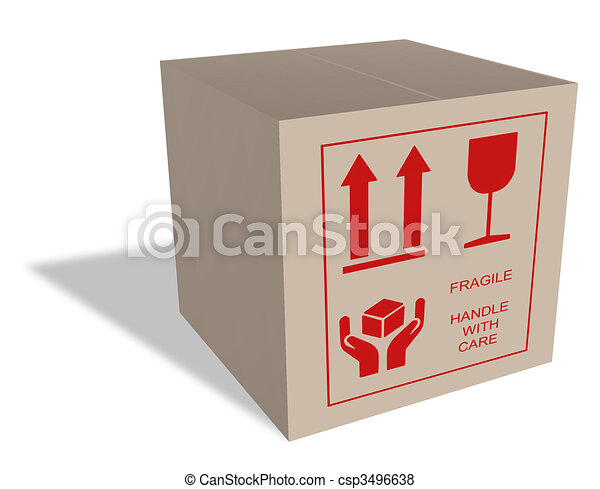 Cardboard box with fragile content - csp3496638