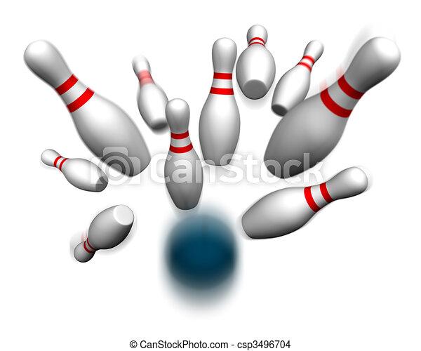 Bowling ball hitting pins - csp3496704