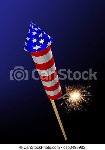 Fireworks rocket fuse burning - csp3496982