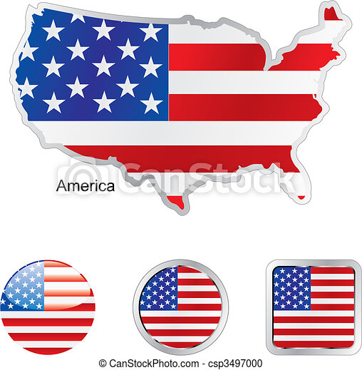 flag of america in map and web buttons shapes - csp3497000
