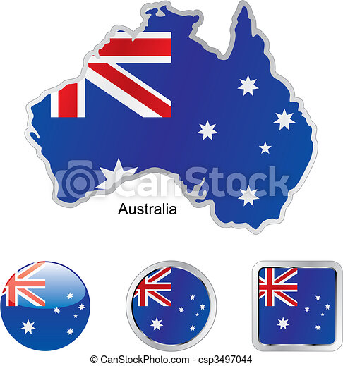 flag of australia in map and web buttons shapes - csp3497044