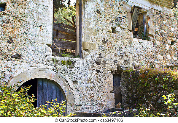 Ruins of an old water mill at Lefkada, Greece - csp3497106