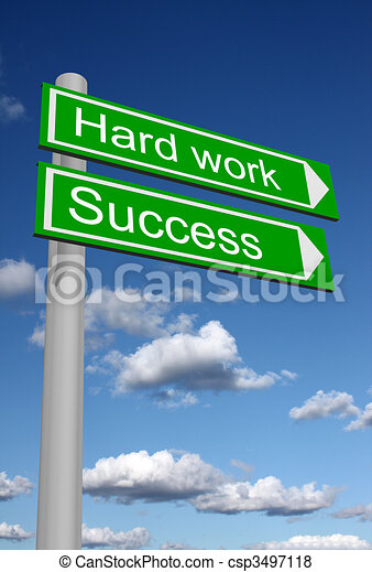 Signpost for success and hard work - csp3497118