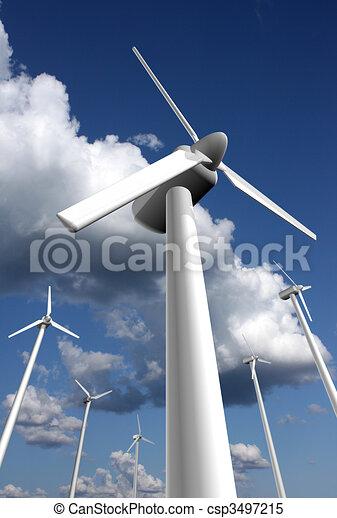 Wind power farm closeup - csp3497215