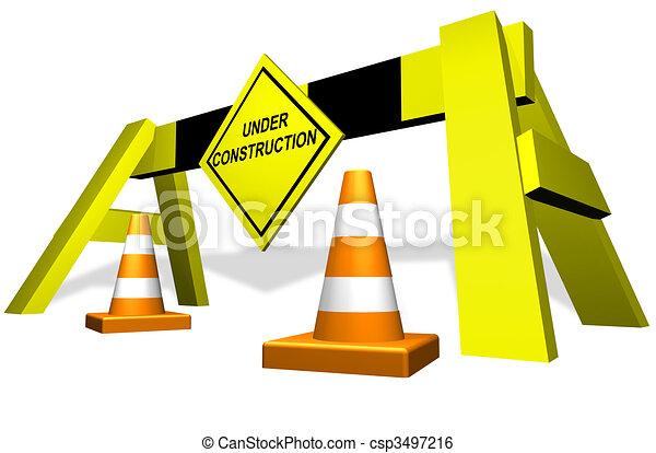 Under construction traffic block - csp3497216