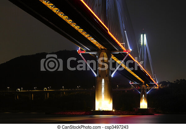 Ting Kau Bridge at night, in Hong Kong - csp3497243