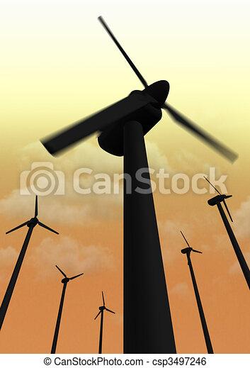 Wind power plant closeup nighttime - csp3497246
