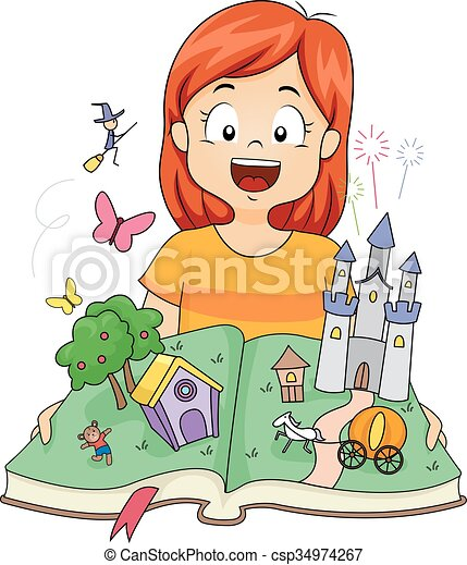Clip Art Vector Of Kid Girl Fantasy Castle Pop Up Book
