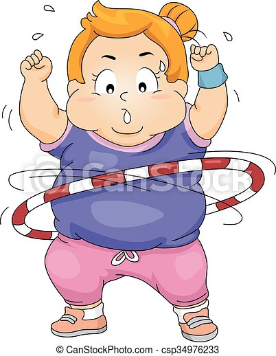 Vectors of Exercise Kid Girl Fat Hula Hoop - Illustration of an ...
