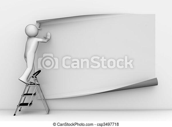 Sticking blank grey poster - csp3497718
