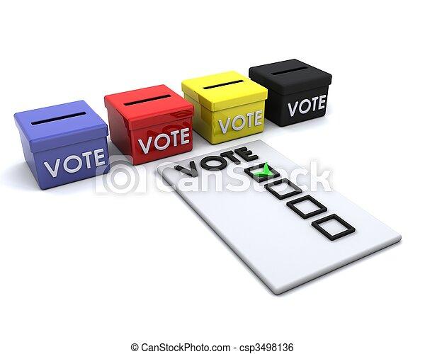 箱子, 選票, 選舉, 天 - csp3498136