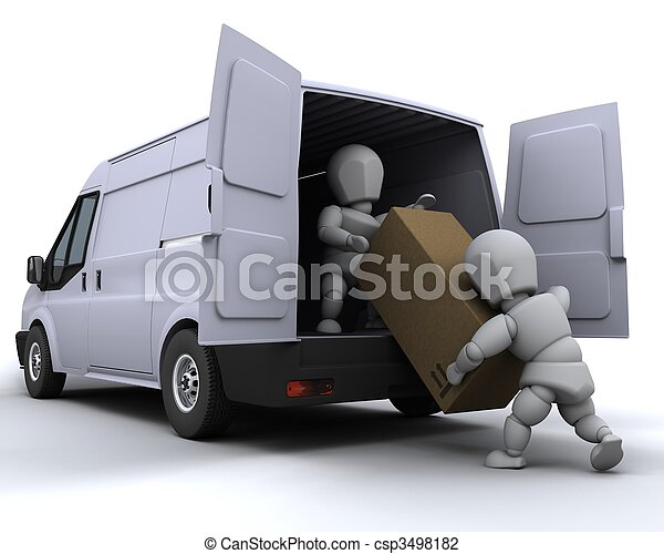 removal men loading a van - csp3498182