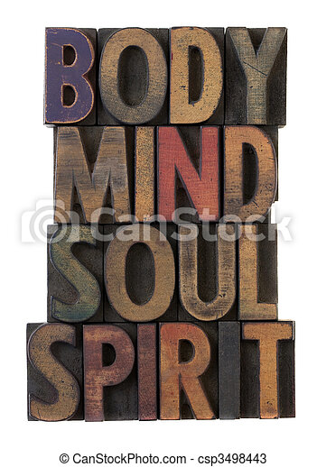 body, mind, soul, spirit in old wood type - csp3498443