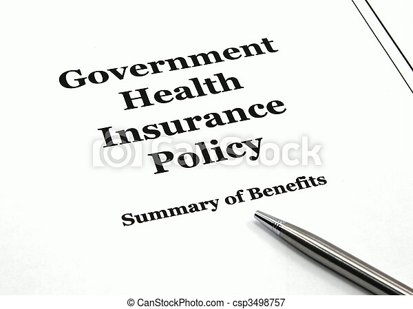 Government Health Insurance Policy and Pen - csp3498757