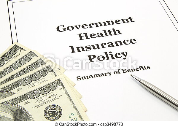 Government Health Insurance Policy and Cash - csp3498773