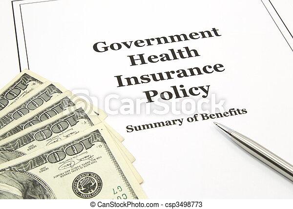 政策, 保險, 健康, 現金, 政府 - csp3498773