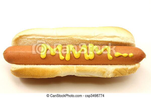 Foot Long Hot Dog with MMM... written in mustard. - csp3498774