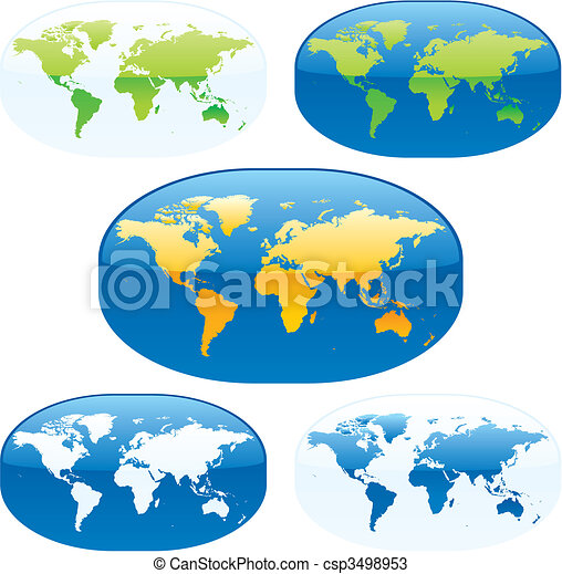 vector illustration  colored world maps - csp3498953