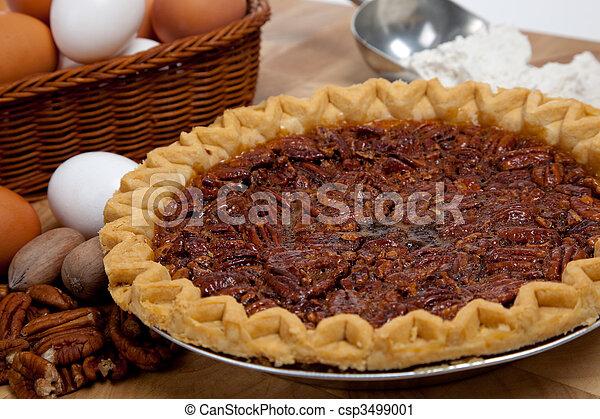 Homemade pecan pie with ingredients - csp3499001