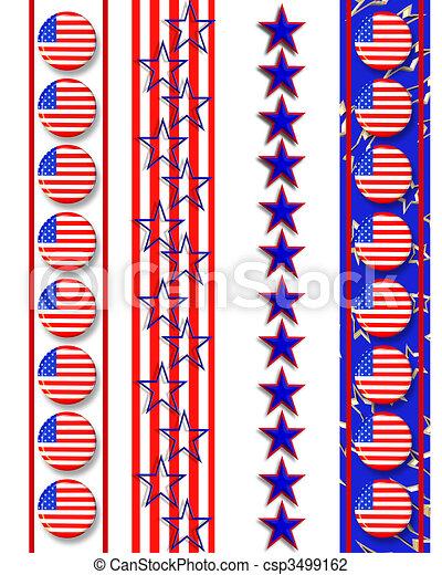 4th of July Patriotic borders  - csp3499162