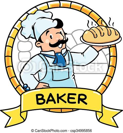Clipart Vektor von lustiges, abc, Bäcker, Reihe, beruf, emblem ...   {Koch bei der arbeit clipart 37}