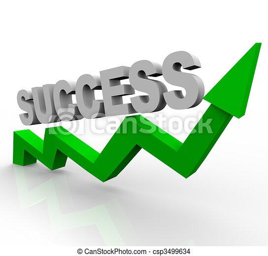 Success Word on Green Growth Arrow - csp3499634