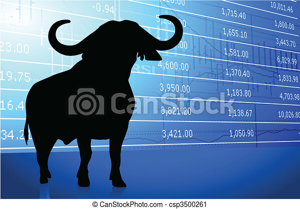 bull on stock market background - csp3500261