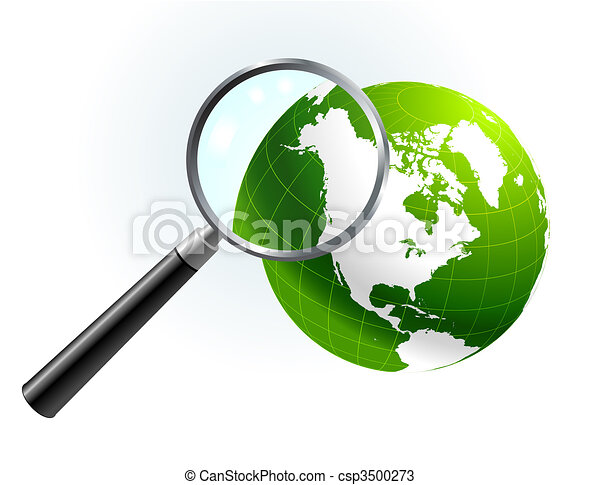 Green Globe under magnifying glass - csp3500273