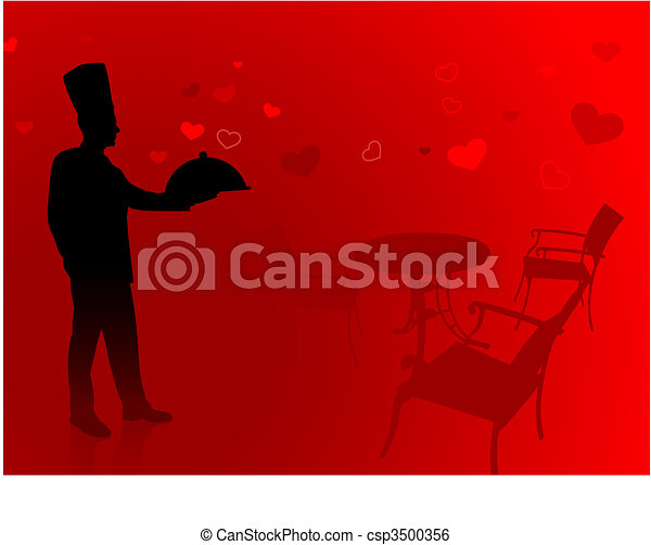 Chef on romantic date background - csp3500356