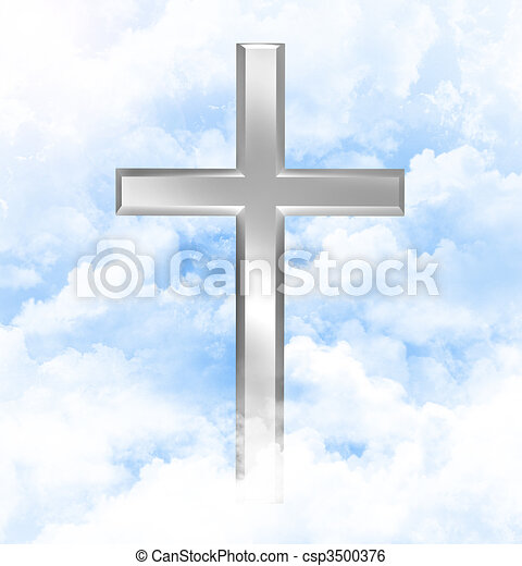Christian cross in the clouds - csp3500376