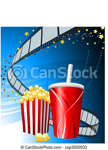 Popcorn and cup of soda on film background - csp3500533