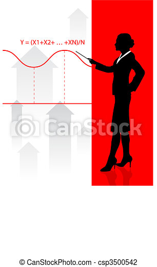 Business woman on background with financial equation - csp3500542