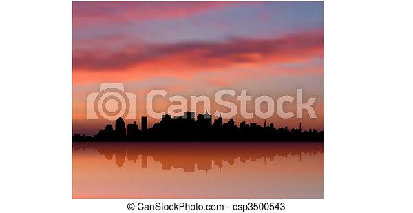 New York city Skyline sunset internet background - csp3500543