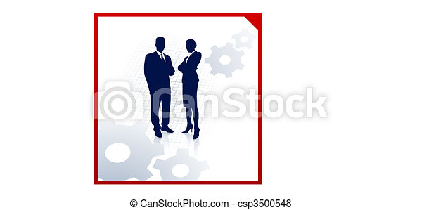 business team silhouettes on corporate background with gears - csp3500548