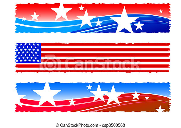 Independence Day patriotic banners - csp3500568